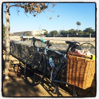 Stopping for a rest along the Ballona Creek bike path.